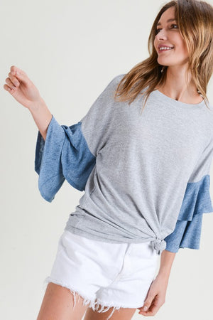 Tier Bell Sleeved -Denim & Grey