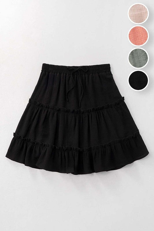 Tiered Mini Skirt Black