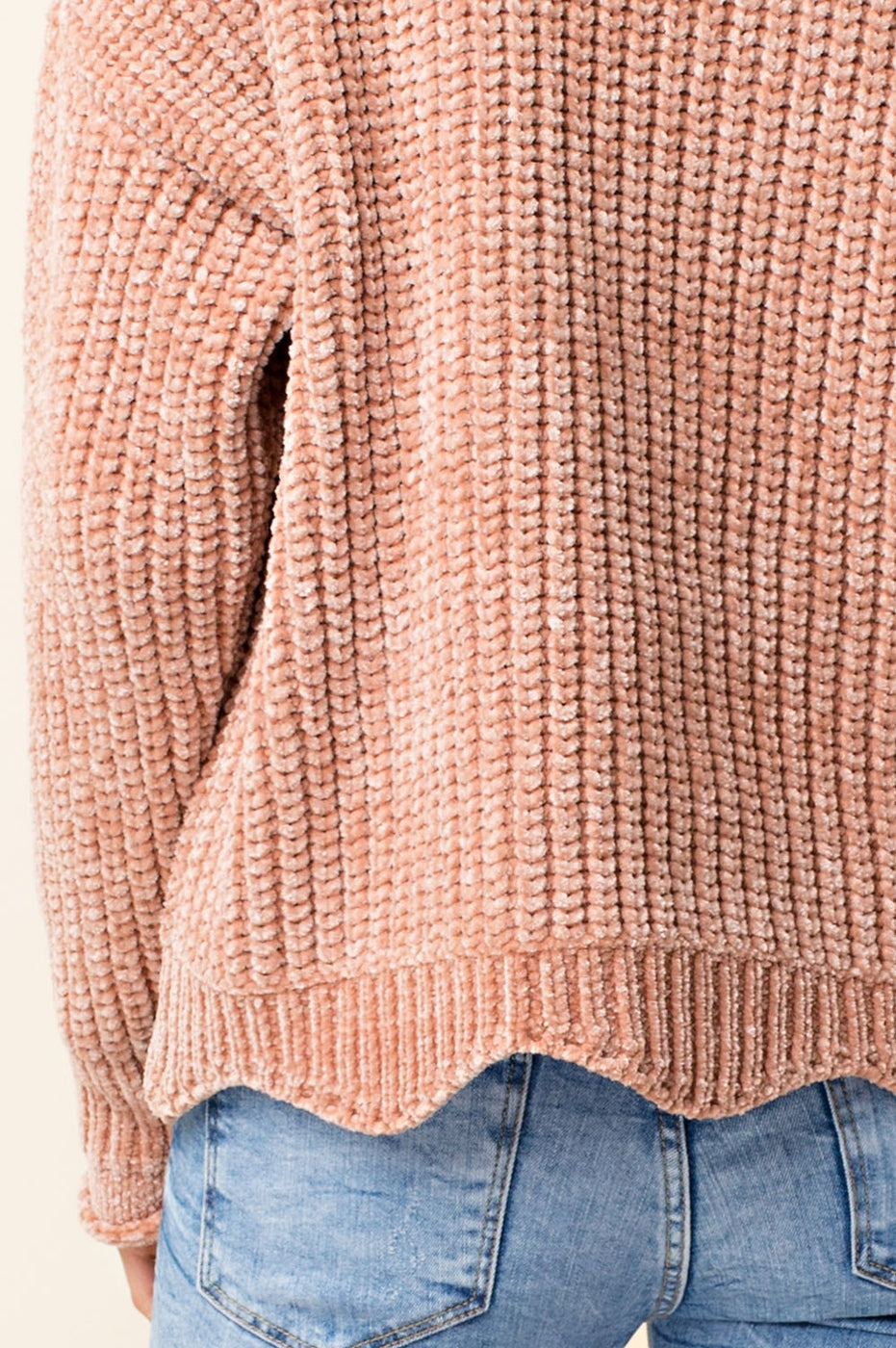 Caramel Scalloped Chenille Sweater
