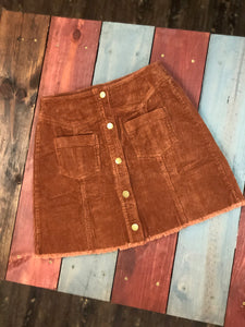 Bronze Button Front Pockets Corduroy Skirt