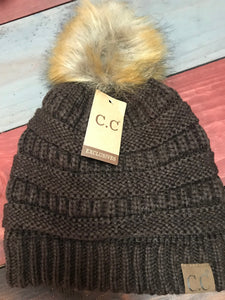 Brown CC Beanie with Brown Pom