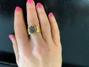 Buffalo Girls Salvage - Adjustable Wide Band Bullet Ring - Gold
