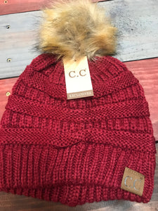 Burgundy CC Beanie with Brown Pom