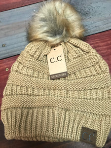 Camel CC Beanie with Brown Pom