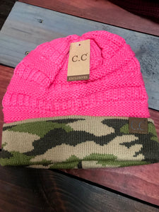 Camo & New Candy Pink CC Beanie