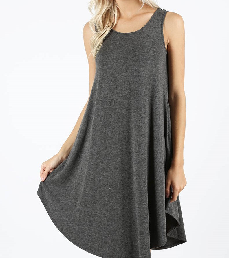 Light Charcoal Sleeveless Pocket Dress
