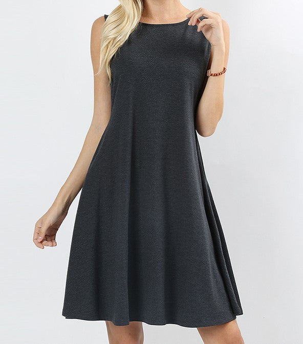 Dark Charcoal Sleeveless Pocket Dress