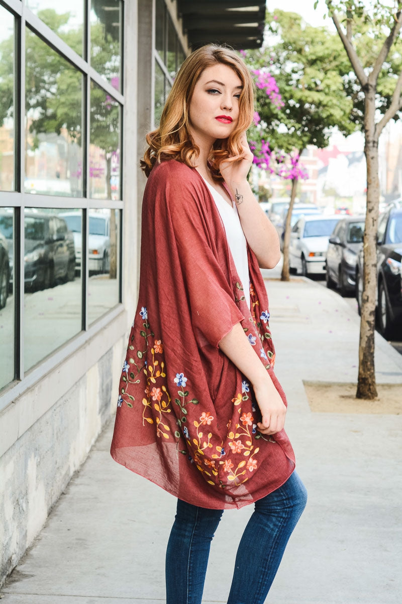 Copper Kimono Cardigan with Embroidered Flowers