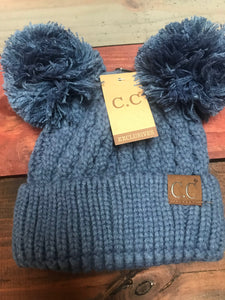 Dark Denim ADULT Double Pom CC Beanie