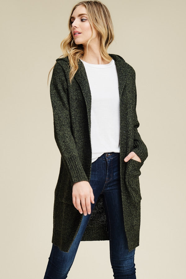 Deep Green Heavy Cardigan with Hood