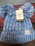 Light Denim Blue Kids Double Pom CC Beanie