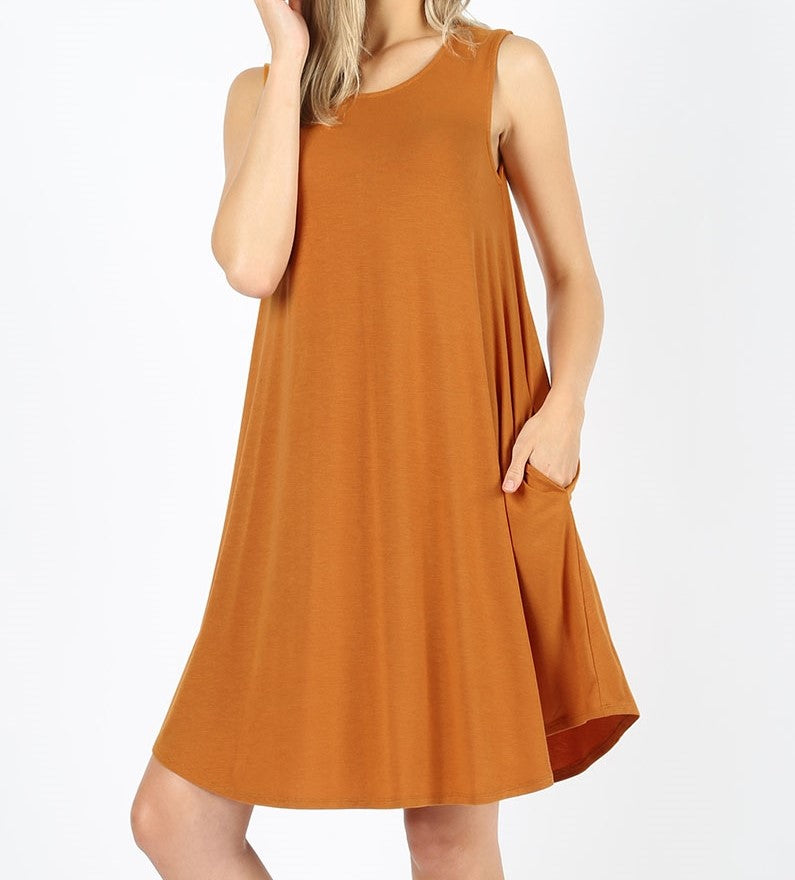 Desert Mustard Sleeveless Pocket Dress