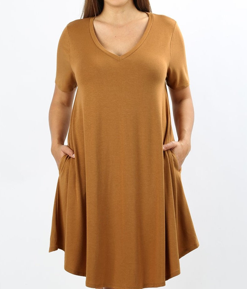 V-Neck A-Line Pocket Dress Coffee