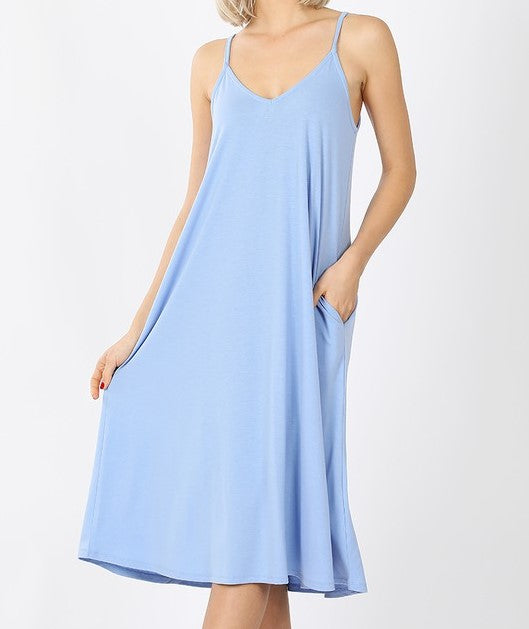 V-Neck Cami Knee Length Pocket Dress Spring Blue