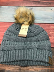 Melange Grey CC Beanie with Brown Pom