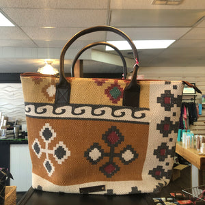 Le Papillon - COTTON RUG GENUINE LEATHER BOHO HANDBAG