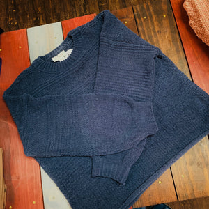 Navy Blue Boyfriend Knit Sweater