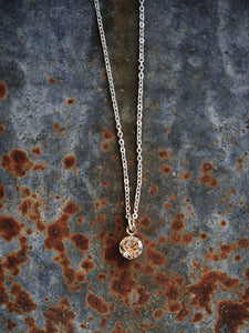 Buffalo Girls Salvage  - Simple Solitaire Silver Necklace
