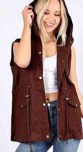 Chocolate Brown Military Vest with Hood and Drawstring