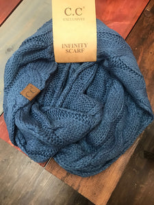 Dark Denim Blue CC Scarf
