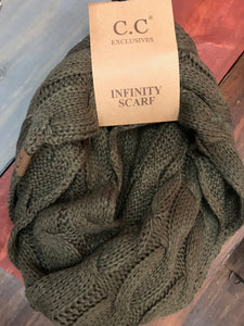 Olive CC Infinity Scarf