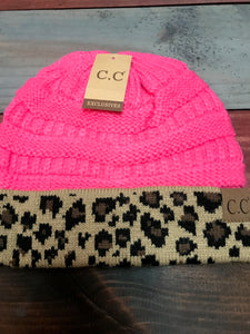 Leopard & Candy Pink CC Beanie
