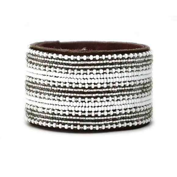 Swahili Coast - Silver & White Stripe Collection