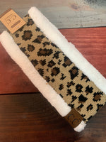 CC New Leopard Sherpa Lined Headbands