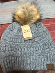 Light Melange Grey CC Beanie with Brown Pom