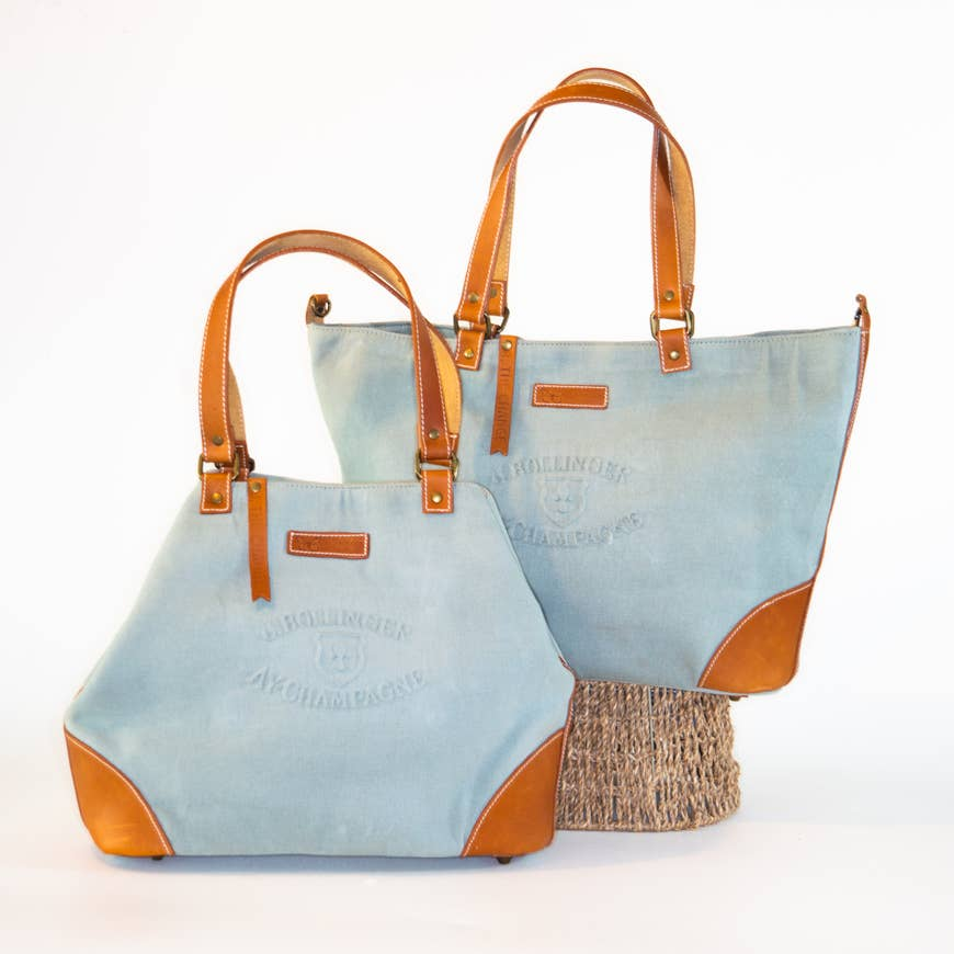 Le Papillon - Bollinger Aqua WAXED canvas & genuine leather handbag