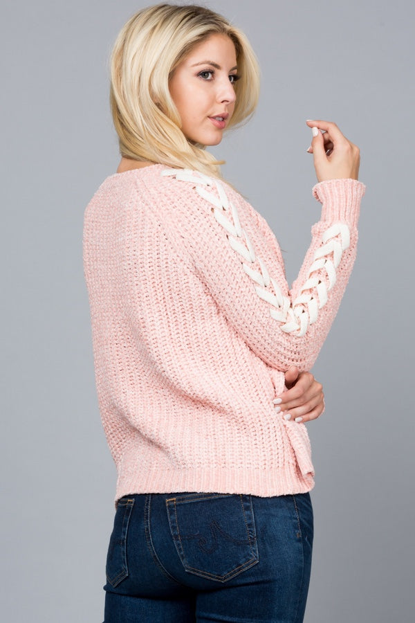 Soft Pink with X Stitched Sleeves