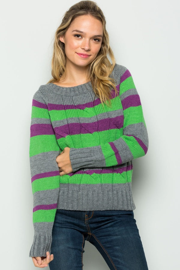 Lime Green, Purple and Grey Striped Sweater