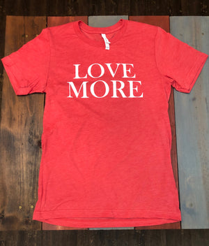 Love More Crew T-Shirt-Espresso, Red, Turquoise