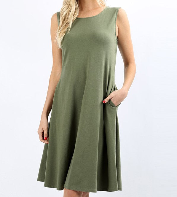 Light Olive Sleeveless Pocket Dress