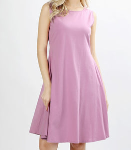 Mauve Sleeveless Pocket Dress