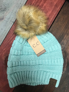 Mint CC Beanie with Brown Pom