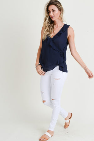 Sheer Navy Blue Ruffle V Top