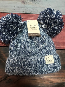 Navy Kids Double Pom CC Beanie