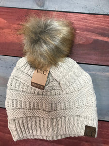 New Beige CC Beanie with Brown Pom