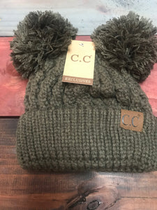 New Olive ADULT Double Pom CC Beanie