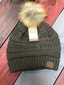 New Olive CC Beanie with Brown Pom