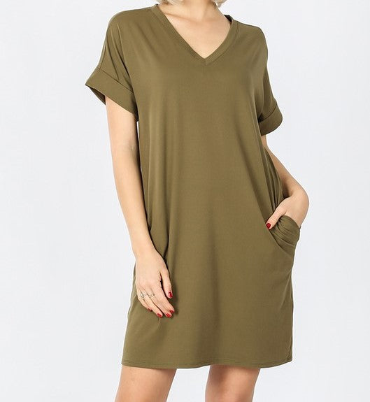 V-Neck A-Line Pocket Dress Olive