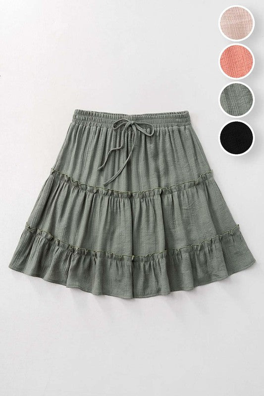 Tiered Mini Skirt Olive