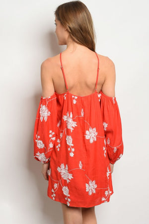 Deep Coral Dress with Embroidered Flowers