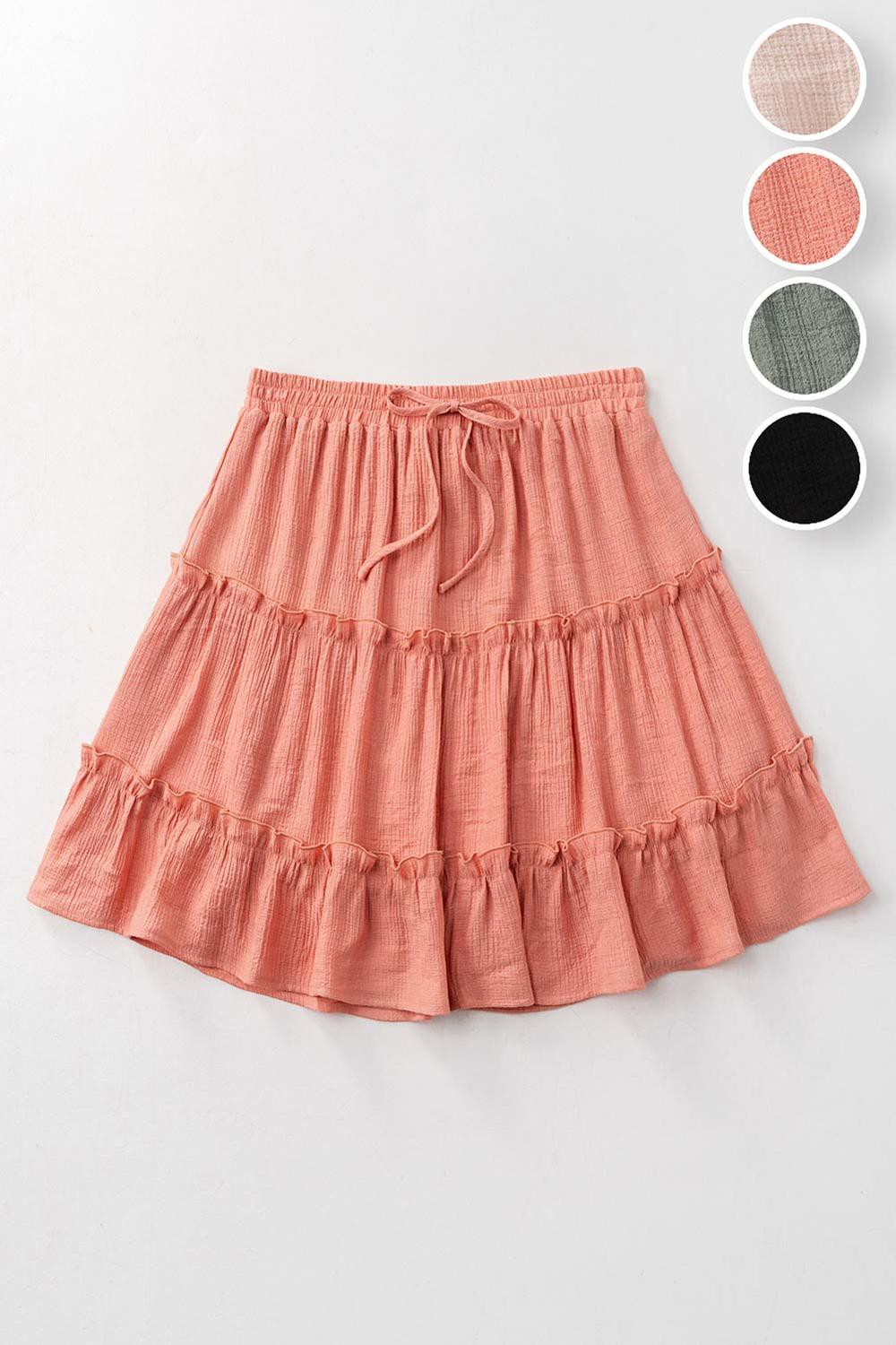 Tiered Mini Skirt Peach