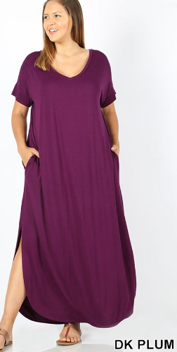 Plus Size Long Dark Plum Dress with Side Slits and Pockets