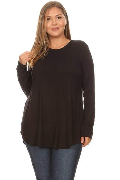 Black Plus Size Scoop Neck Long Sleeve Top