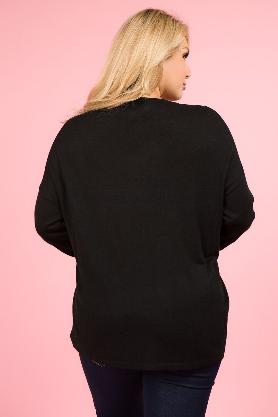 Plus Size Black V Button Cardigan