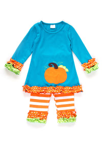 Teal & Pumpkin Stripe Ruffle Set