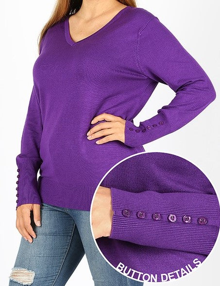 Purple Plus Size V-Neck Sweater